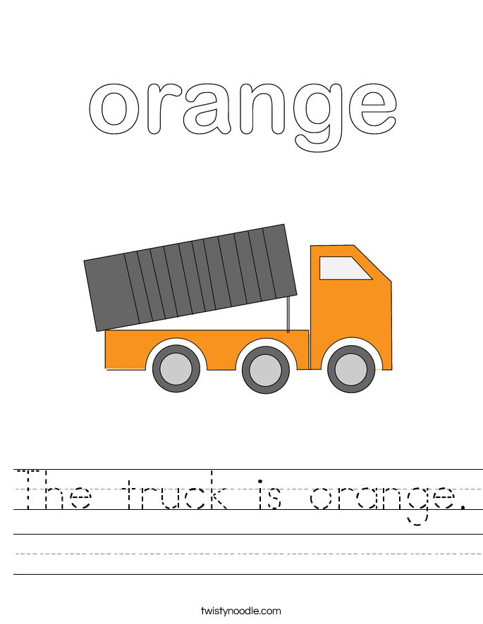 The truck is orange. Worksheet