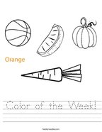Color of the Week Handwriting Sheet
