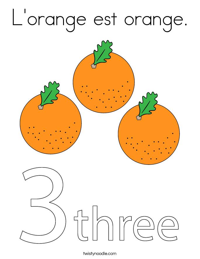 L'orange est orange. Coloring Page