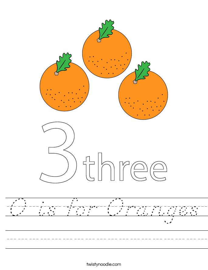 O is for Oranges Worksheet