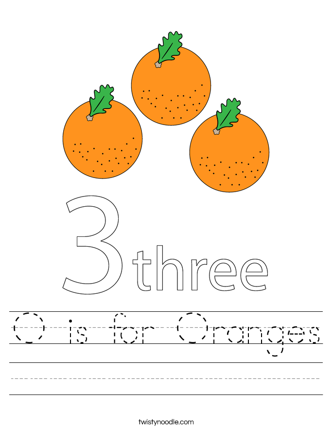 O is for Oranges Worksheet