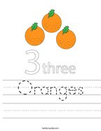 Oranges Handwriting Sheet