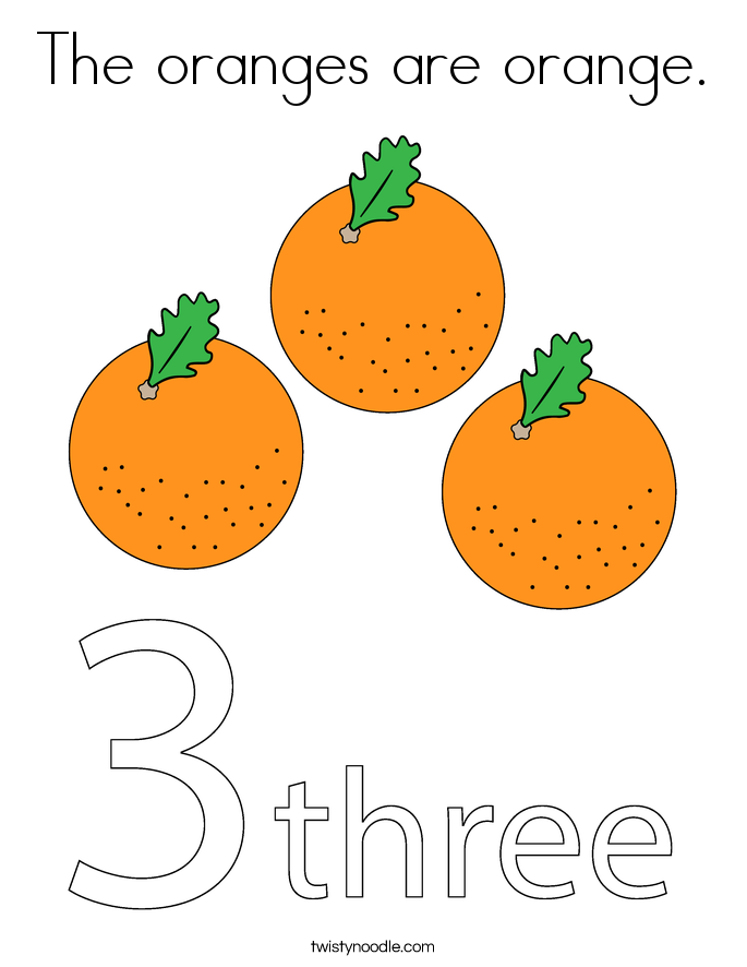 The oranges are orange. Coloring Page