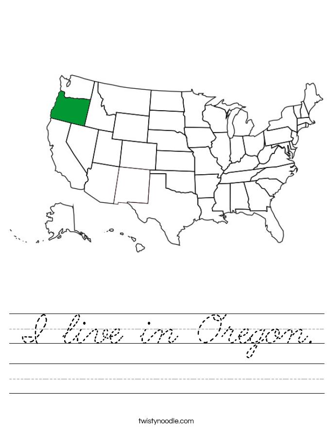 I live in Oregon. Worksheet