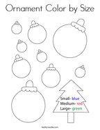 Ornament Color by Size Coloring Page
