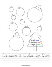 Ornament Color by Size Handwriting Sheet