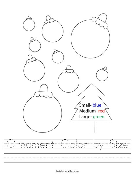 Ornament Color by Size Worksheet