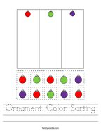 Ornament Color Sorting Handwriting Sheet