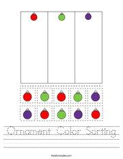 Ornament Color Sorting Handwriting Sheet