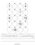 Ornament Counting Handwriting Sheet