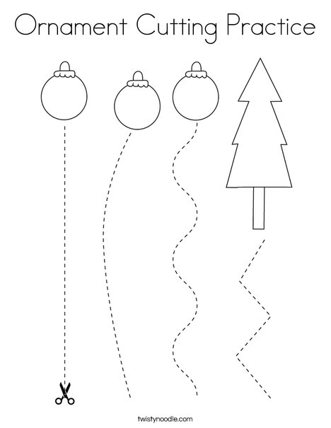 Ornament Cutting Practice Coloring Page