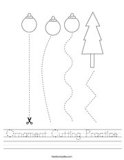 Ornament Cutting Practice Handwriting Sheet