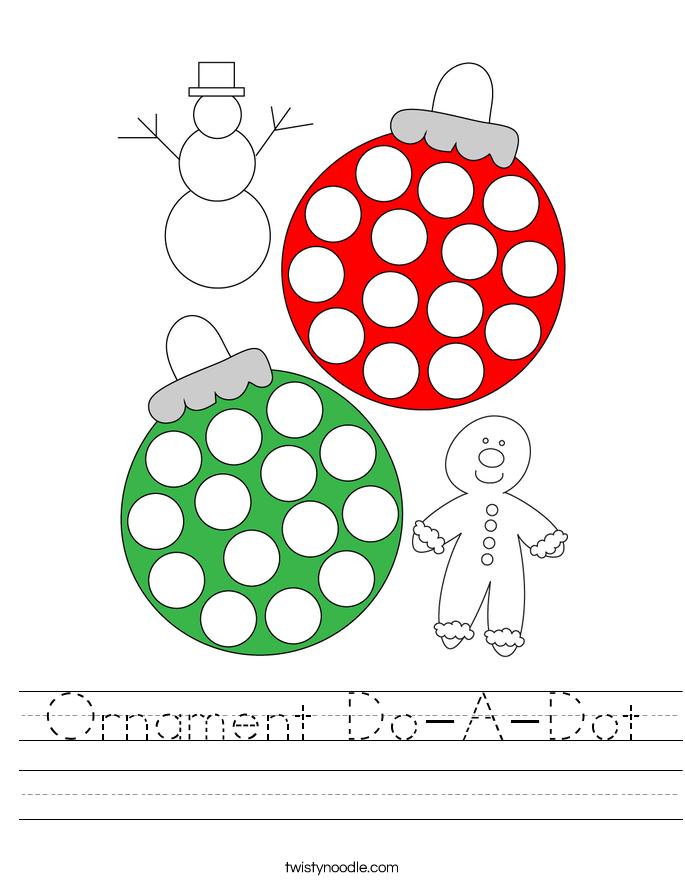 Ornament Do-A-Dot Worksheet