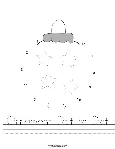 Ornament Dot to Dot Worksheet