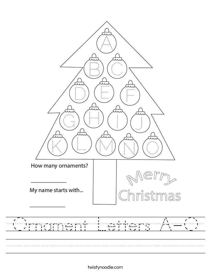 Ornament Letters A-O Worksheet