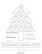 Ornament Letters A-O Handwriting Sheet