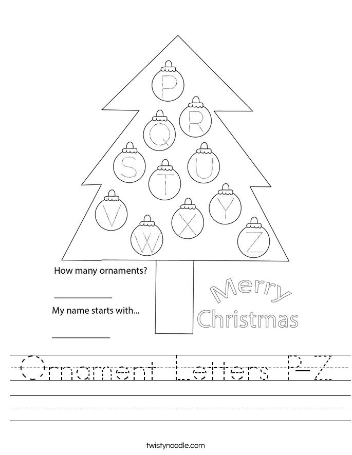 Ornament Letters P-Z Worksheet