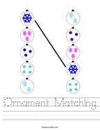 Ornament Matching Handwriting Sheet
