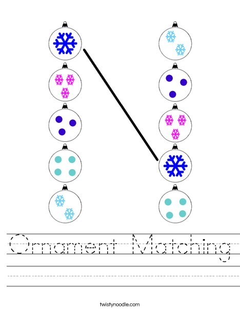 Ornament Matching Worksheet