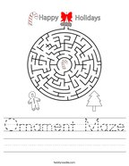 Ornament Maze Handwriting Sheet