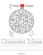 Ornament Maze Handwriting Sheet
