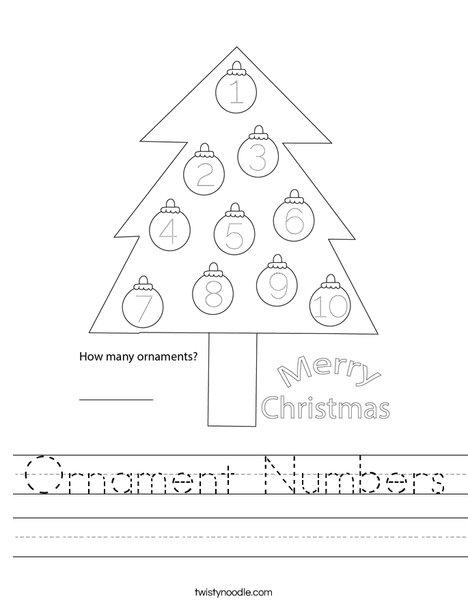 Ornament Numbers Worksheet
