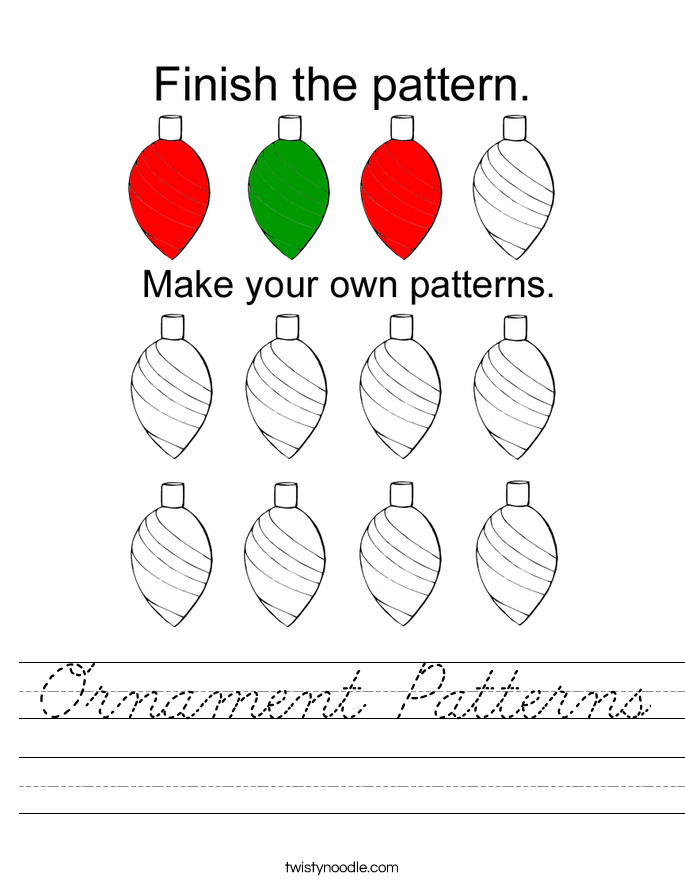 Ornament Patterns Worksheet - Cursive - Twisty Noodle