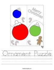 Ornament Puzzle Handwriting Sheet