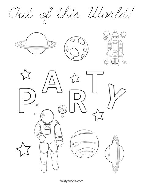 Out of this world party Coloring Page