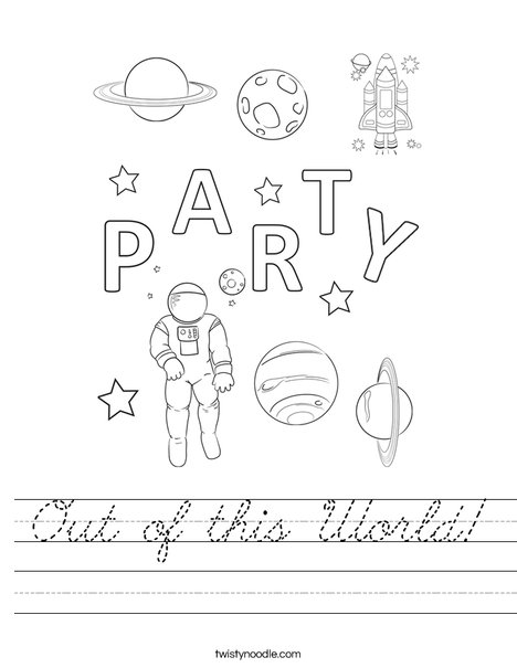 Out of this world party Worksheet