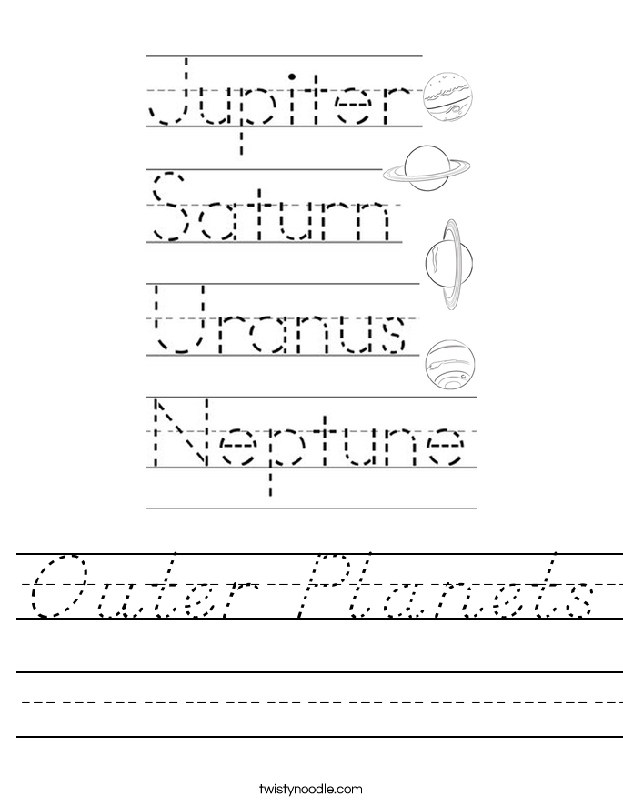 Outer Planets Worksheet
