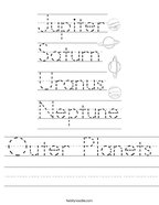 Outer Planets Handwriting Sheet