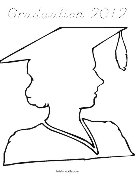 Outline of a Girl Graduate Coloring Page