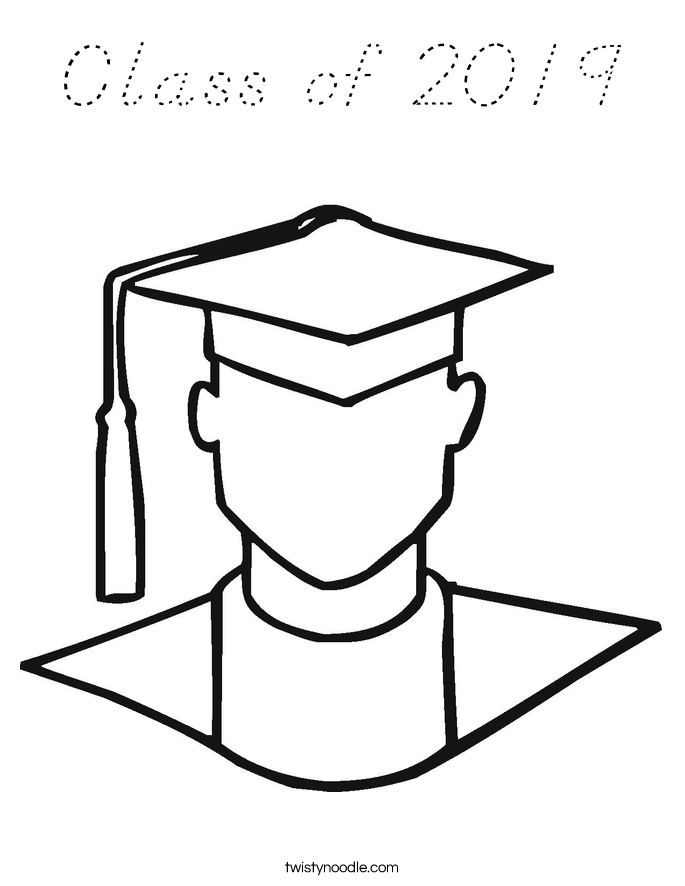 Class of 2019 Coloring Page - D'Nealian - Twisty Noodle