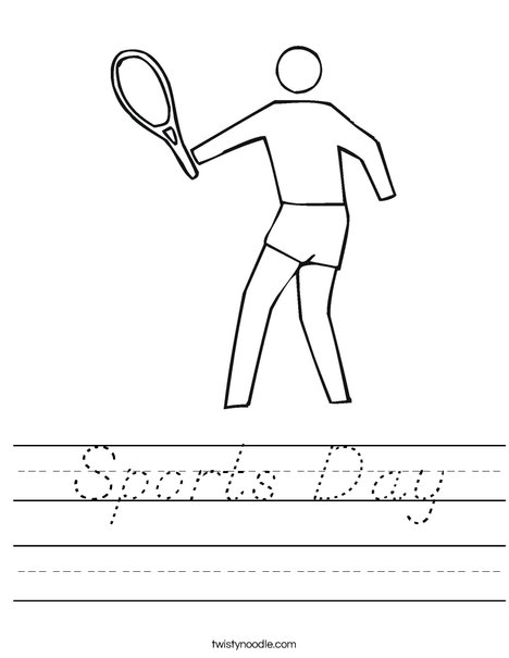 Outline tennis player Worksheet