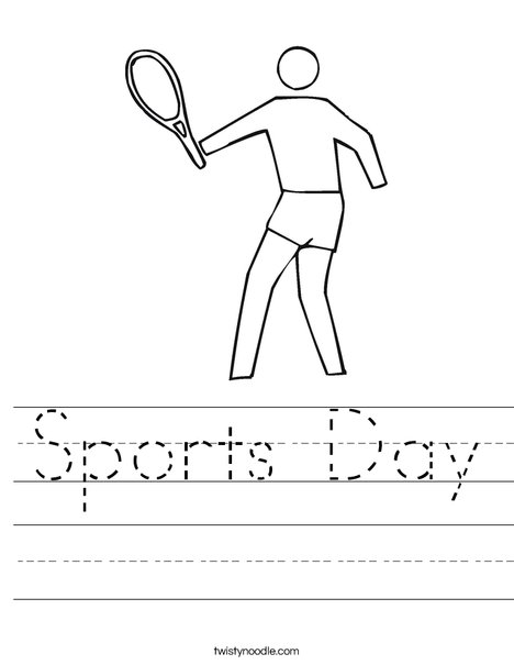 Outline tennis player Worksheet