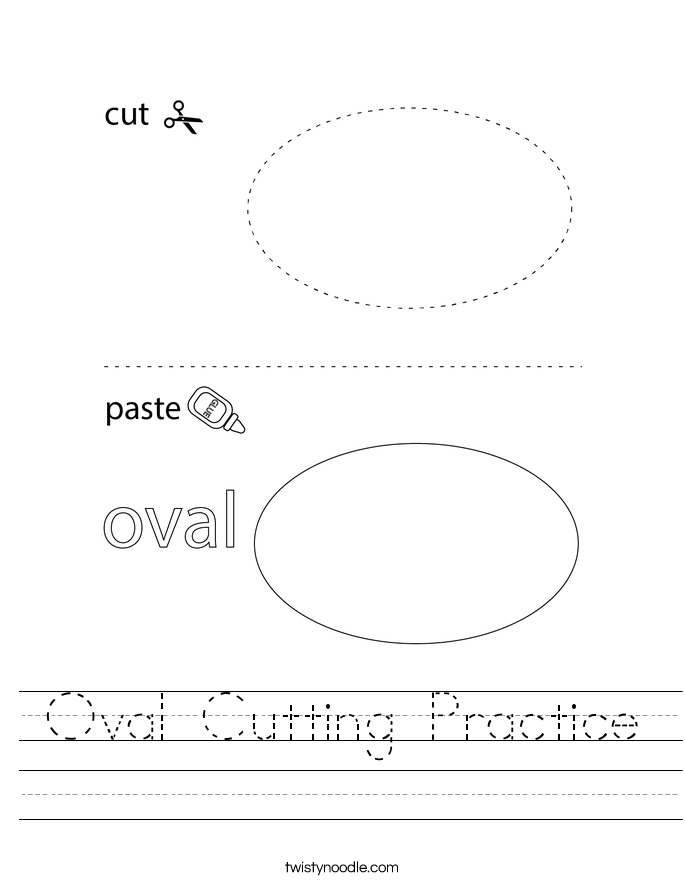 Oval Cutting Practice Worksheet