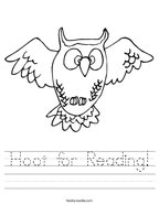 Hoot for Reading Handwriting Sheet