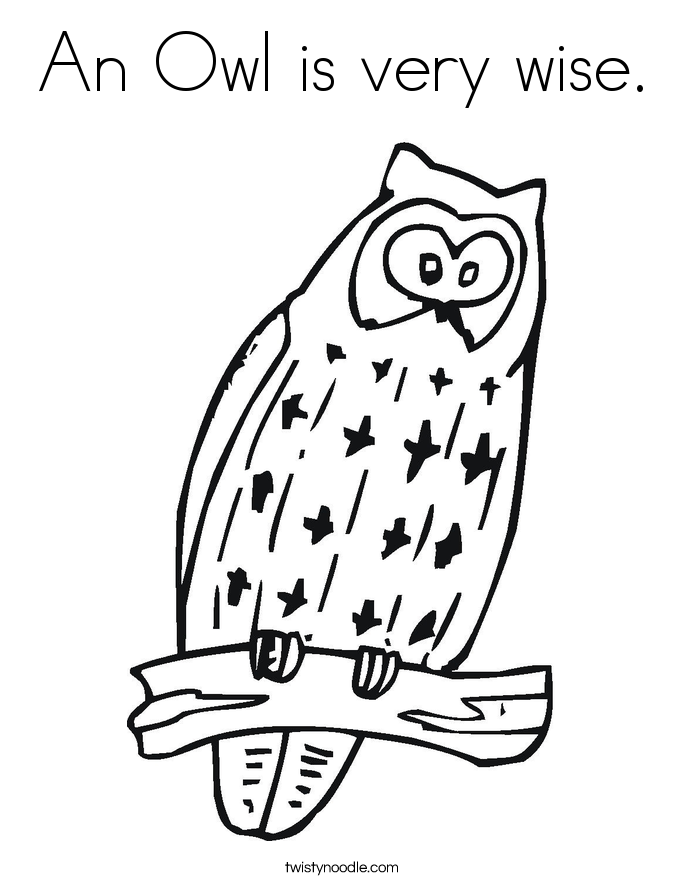 An Owl is very wise. Coloring Page