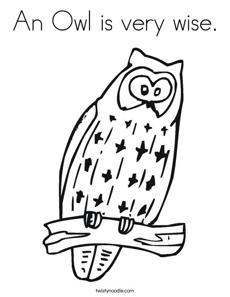 An Owl Is Very Wise Coloring Page