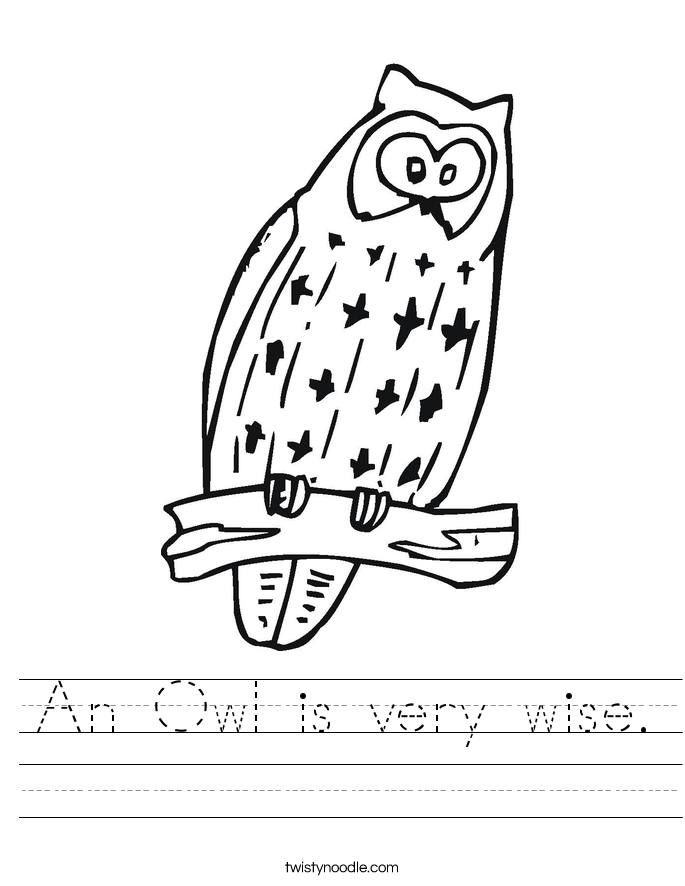 An Owl is very wise. Worksheet