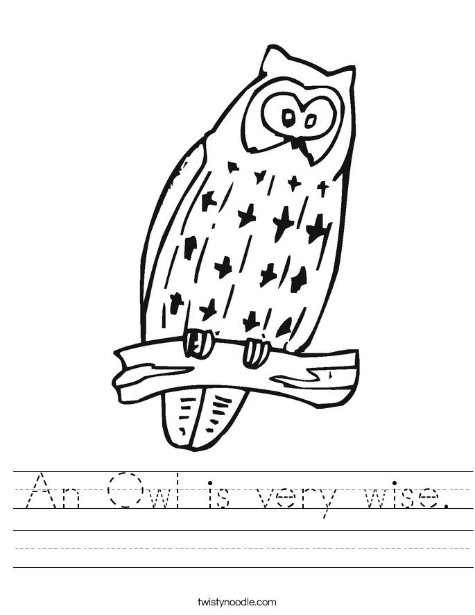 An Owl is very wise. Worksheet
