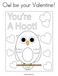 Owl be your Valentine! Coloring Page