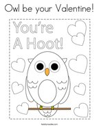 Owl be your Valentine Coloring Page