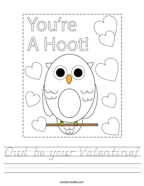 Owl be your valentine! Worksheet