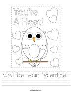 Owl be your Valentine Handwriting Sheet