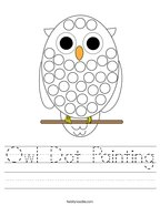 Owl Dot Painting Handwriting Sheet