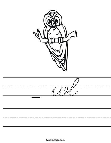 Owl on a Branch Worksheet