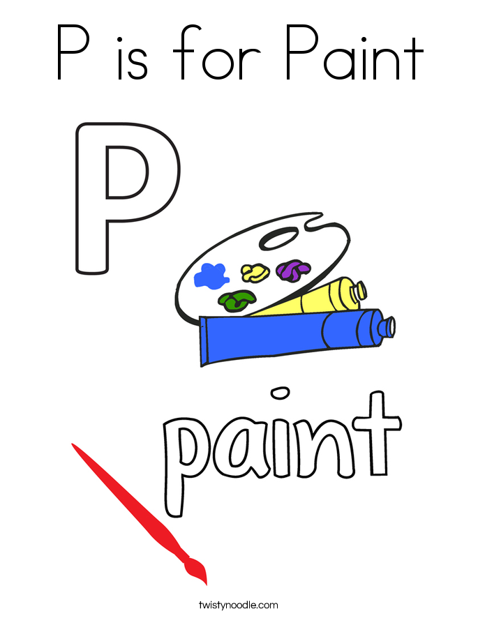 P is for Paint Coloring Page