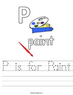 P is for Paint Handwriting Sheet